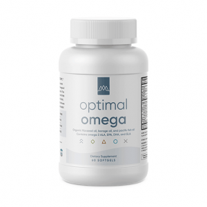 Optimal Omega by MaxLiving bottle of fish-oil supplements