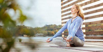 meditate on a dock