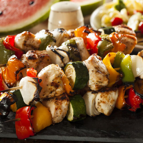 This meat and vegetable kabobs recipe is great for grilling