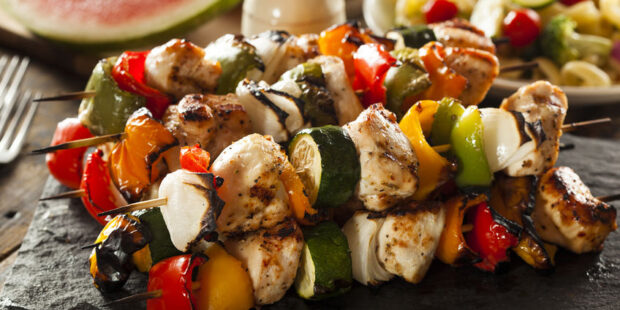 This meat and vegetable kabobs recipe is great for grilling.