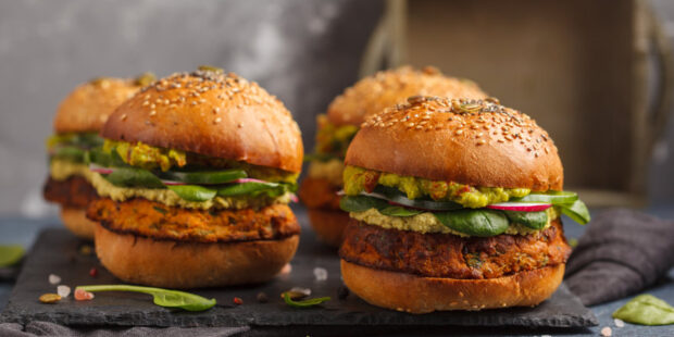Try these vegan and vegetarian burger recipe made with chickpeas and sweet potatoes.