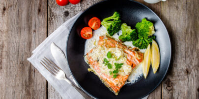 Grilled salmon with basil cream sauce recipe